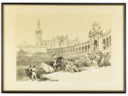 1837 David Roberts RA Corrida in Sevilla Bullfight Lithograph