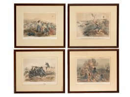 1854 Set of 4 Lithos Lloyds Incidents from the War in the Crimea