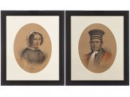 1868 Watercolour Portraits of Magistrate & Wife by J Villeneuve