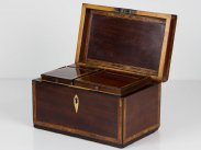 c1800 George III Mahogany Inlaid Tea Caddy