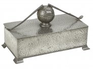 Arts and Crafts Novelty Pewter Golf Cigar Box