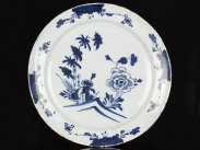 c1750 Large English Blue and White Chinese Delft Style Dish