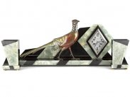c1930 French Art Deco Clock Garniture Set Pheasant on Onyx Base