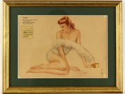 March 1943 Framed Calendar of WWII Vargas Pin Up Girl