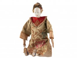 c1890 Chinese Hand Painted Wooden Doll