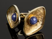 14 Carat Gold and Star Sapphire Swivel Cuff Links