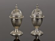 19th Century Adam Style Pair of Silver Plated Pepperettes