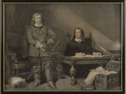1870 Lithograph S.Lipschitz Oliver Cromwell and John Milton