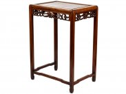 c1890 Chinese Burr Walnut Hardwood Carved Side Table
