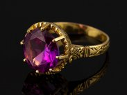 c1970 Portugal 6 Carat Pink Sapphire on 19ct Gold Ring