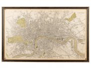 c1843 Davies Plan of London Engraved Print Map