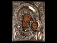1890 Imperial Russian Bogoroditsa Icon Silver Riza by Sbitnev