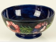c1950 William Moorcroft Pottery Fruit Bowl with Anemones