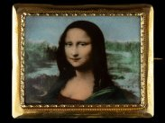 c1890 Mona Lisa on Porcelain & 18 Carat Gold Brooch