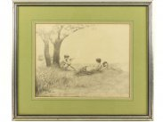 1893 Silverpoint Drawing of Elves by Charles Prosper Sainton