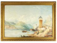1879 David James Oil Painting of River Danube & Castles