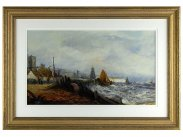 c1880 Thomas Bush Hardy Signed Oil Painting of Dover