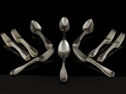 George III Large Set of Silver Spoons and Forks, London 1804