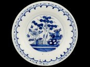 c1750 English Blue and White Chinese Style Delft Plate