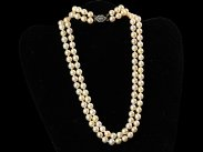 c1930 Art Deco Double Strand Pearl Necklace & Diamond Clasp
