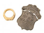 c1865 American Civil War Identity Tag and Carved Bone Ring