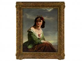 c1880 Scottish Lass Oil Painting Attributed to John Faed