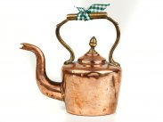 c1850 Antique Dolls Miniature Copper & Brass Kettle