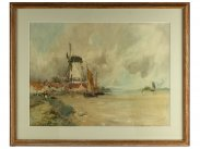 c1900 Watercolour Painting of Dutch Coast by Oswald Garside