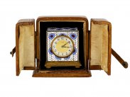c1935 Leather Cased Cloisonne Travel Clock by Zenith