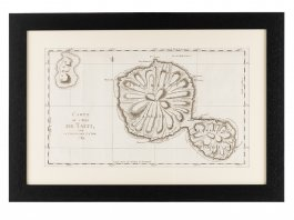 c1769 Map of the Island of Tahiti by Lt James Cook