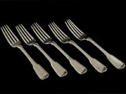 Sterling Silver Fiddle and Thread Set of 5 Forks, Dublin 1931