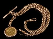1921 Chester 9ct Rose Gold Double Albert Watch Chain & Fob