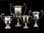 c1957 Uganda Golf Club 4 Sterling Silver Trophy Cups