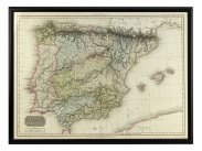 c1812 Large Engraved Map of Spain Portugal by Pinkerton