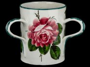 c1910 Large Wemyss Pottery Painted Roses Tyg Loving Cup