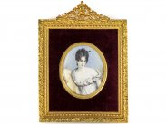 c1805 Miniature Framed Signed Portrait Painting of Mme Recamier