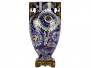 Monumental Aesthetic Art Nouveau Japonisme Sunflower Urn Vase