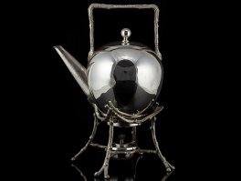 Aesthetic Movement Naturalistic Silver Plated Spirit Kettle