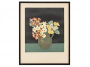 c1925 Woodcut Polyanthus Print by John Hall Thorpe