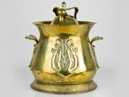 c1890 Art Nouveau Large Organic Brass Coal Scuttle