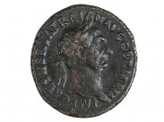 c110 AD Emperor Trajan Bronze Sertertius with SPQR shield