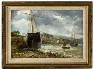 c1880 Boats in Plymouth Oil Painting by William Henry Pike