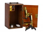 c1895 Cased Compound Brass Microscope by Baker London