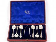 Sterling Silver Boxed Tea Spoon Set and Tongs 1901