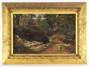 Charles Thomas Bale Oil on Canvas Forest Primroses