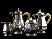 c1925 French Art Deco 4 Piece 950 Silver Ivory Tea & Coffee Set