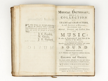 1740 Musical Dictionary Ancient & Modern by J Grassineau