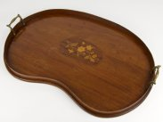 c1900 Edwardian Kidney Inlaid Rosewood Tray
