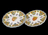 c1880 French Rouen Faience Plates with English Coat of Arms