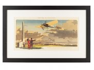 1910 Meeting de Champagne Aircraft Lithograph by Gamy
